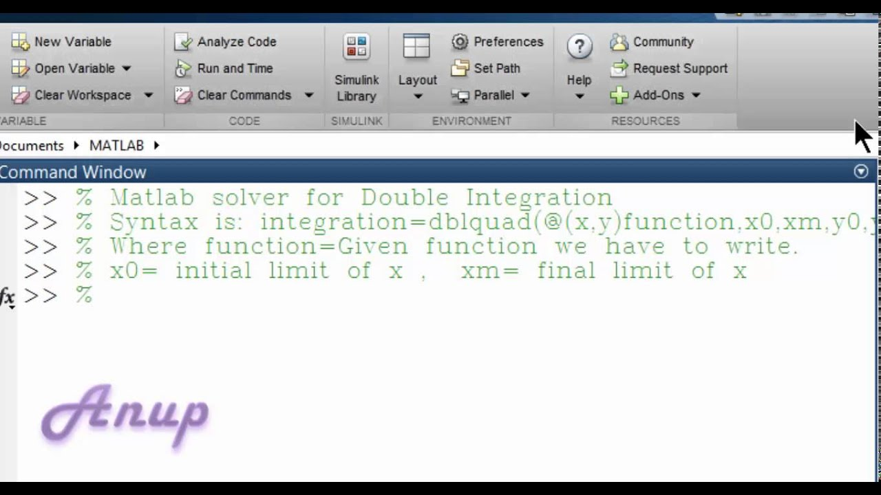 Matlab Solver Double Integration