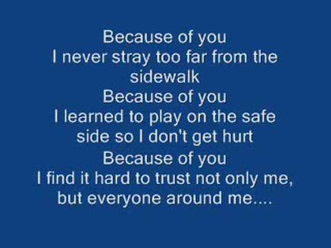 Kelly Clarkson~ Because of you w/lyrics