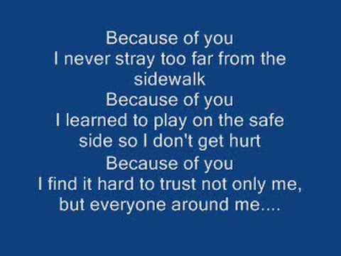 Kelly Clarks~ Because of you wlyrics