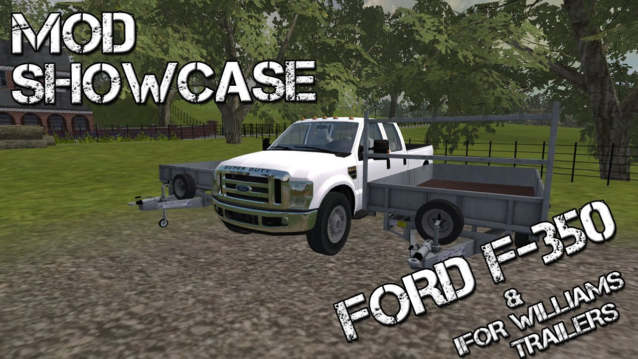 Farming simulator 2013 mod showcase ford f 350 and ifor willains flat bed trailer youtube