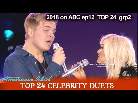 "Caleb Lee Hutchinson and Bebe Rexha Duet "" Meant To Be""  Top 24 Celebrity Duets American Idol 2018"