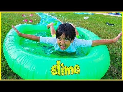 SLIME Water Slide for Kids H2O Slip N Slide Inflatable toy!!!