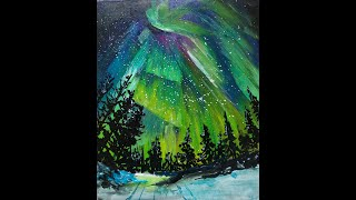 How to Paint Northern Lights or Aurora Borealis | Art of Acrylics