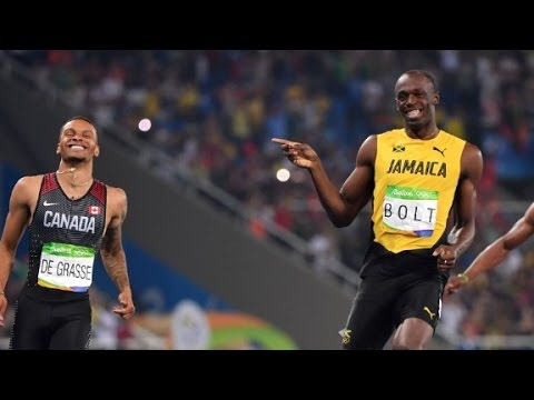 Usain Bolt cracks joke crossing finish line Usain Bolt joked with competitor Andre