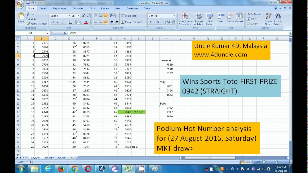 Regular 4D Post Analysis of Results  Wins Sports Toto podium first prize  straight