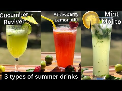 REFRESHING SUMMER DRINKS| VIRGIN MINT MOJITO| STRAWBERRY LEMONADE| CUCUMBER REVIVER|BEAT THE HEAT
