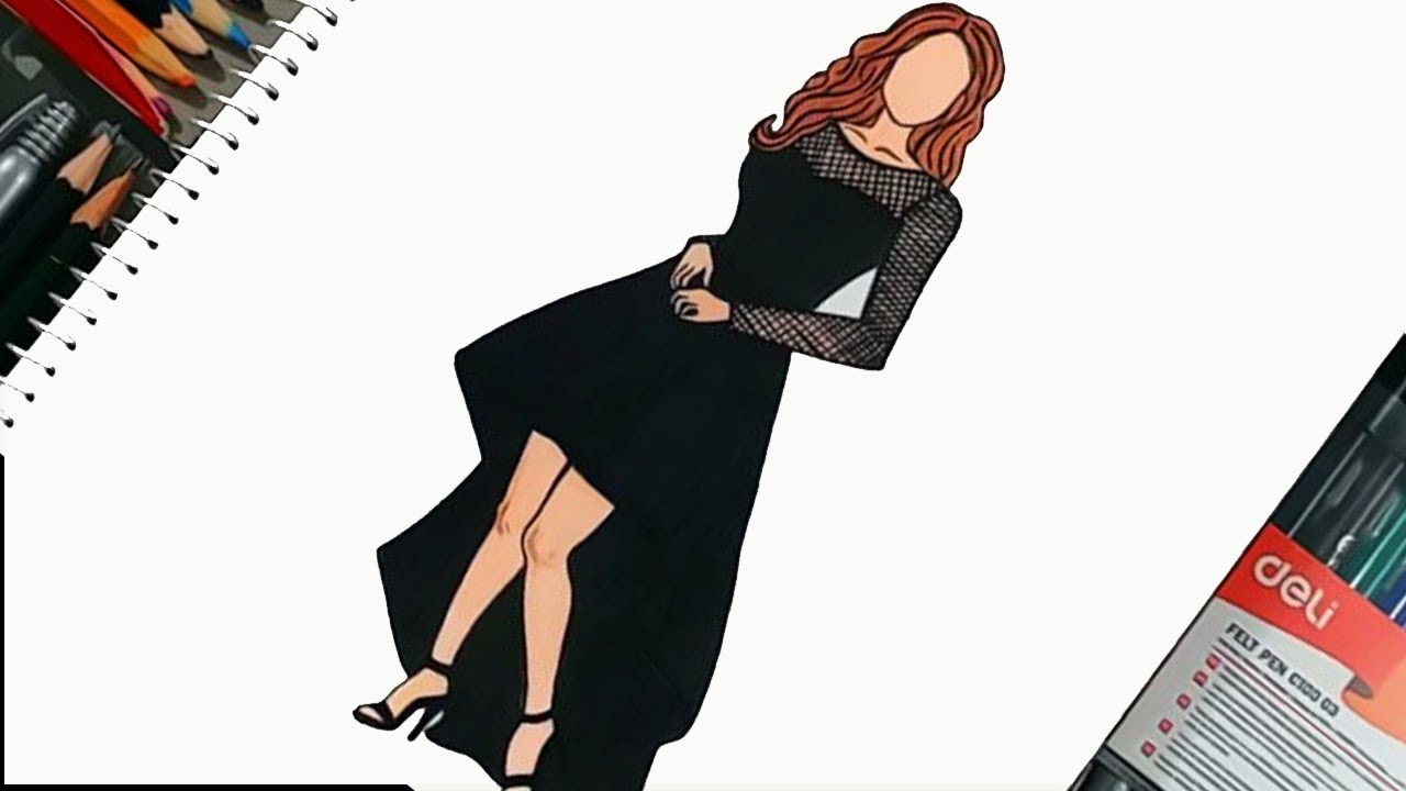 How To Draw The Long Sleeve Black Lace Party Dress Short Front Long Back Dresses Youtube