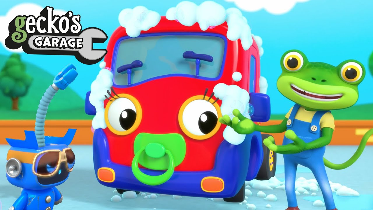 Car Wash Capers With Baby Truck | NEW Gecko's Garage | Trucks For Children | Baby Truck Videos