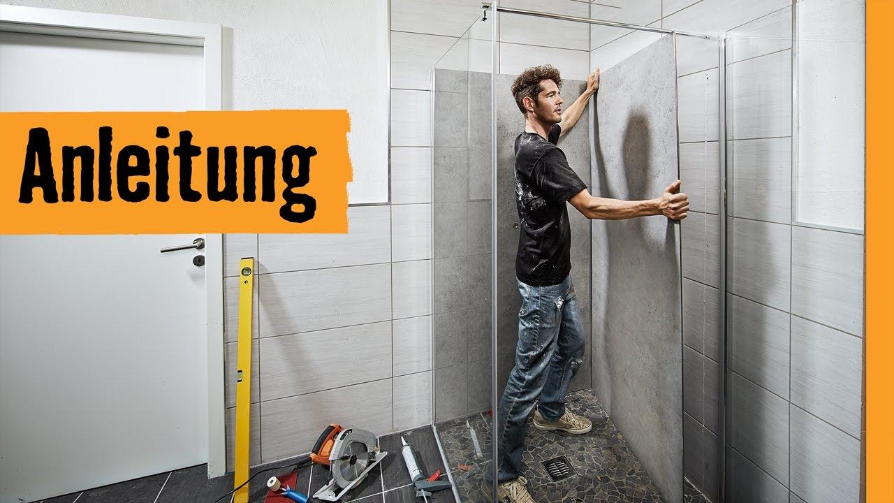 Duschrückwand einbauen   HORNBACH Meisterschmiede