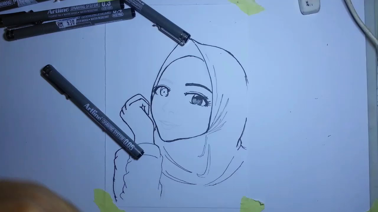 Hijab girl drawing 2