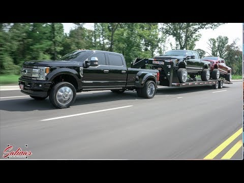 2017 F350 Dually On 22s Tows Two F250s On 26x16s Best Tow