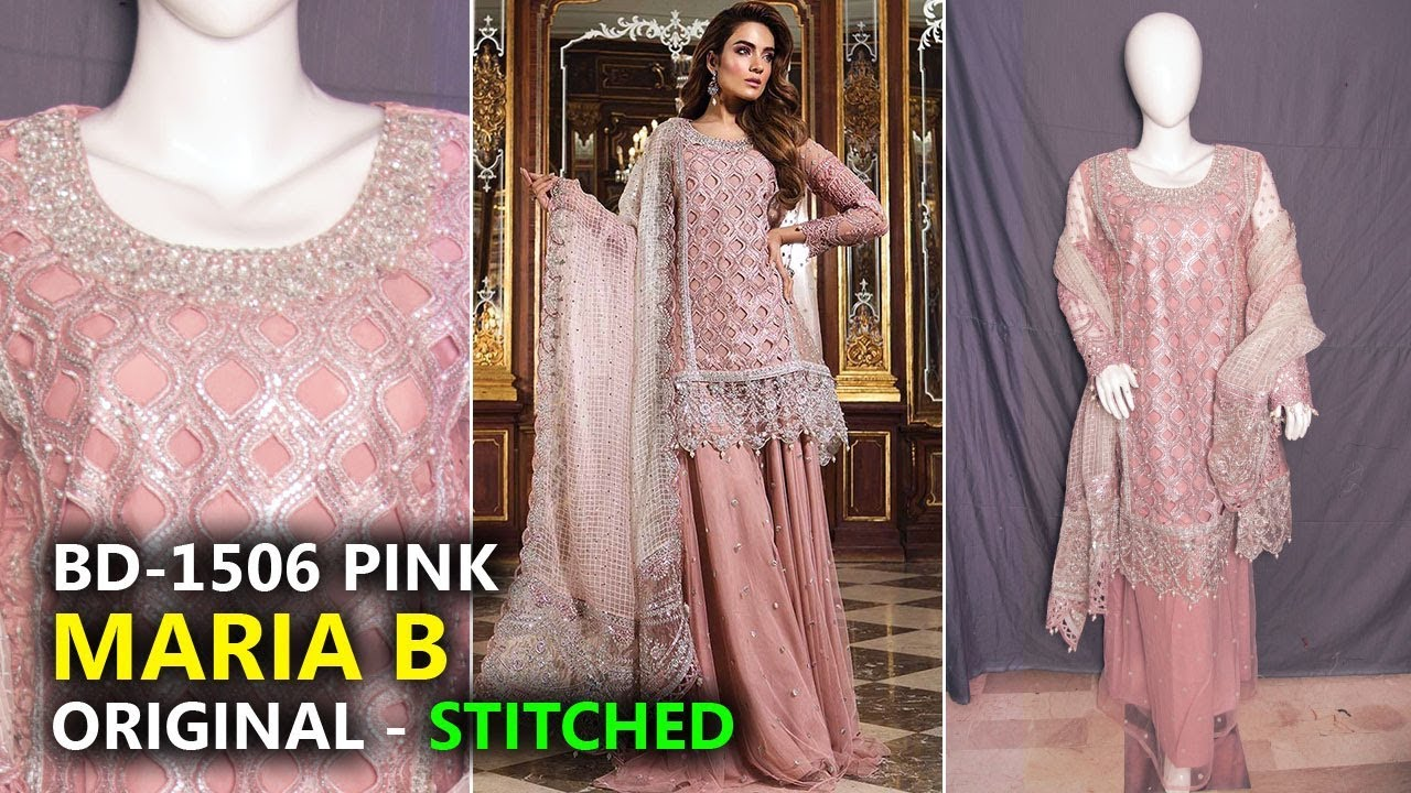 76c2ee7477 Maria B Wedding Collection 2018 👍 Stitched Glittery Pink BD06 - Sara  Clothes Dresses