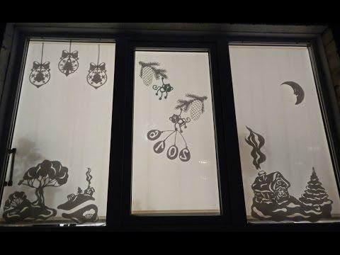 Декорация окна бумагой к новому году