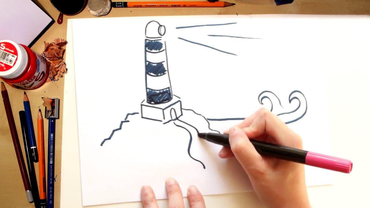 Como dibujar un Faro de la Playa  dibujos de verano  YouTube