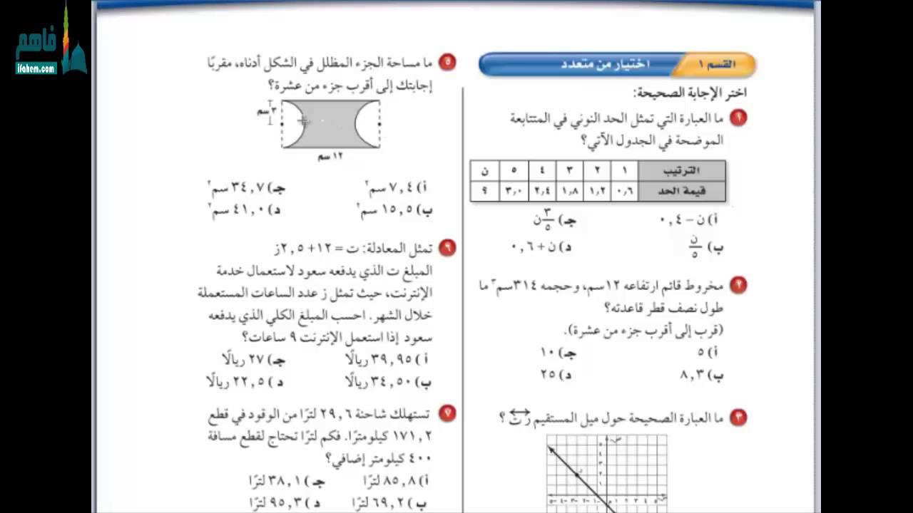 كتاب رياضيات ثاني متوسط الفصل الاول pdf