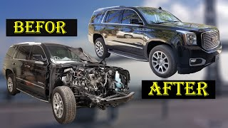 Rebuilding A Wrecked 2017 GMC Denali in 10 minutes/START TO FINISH