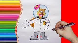 How to draw Sandy Cheeks from Spongebob, Как нарис...