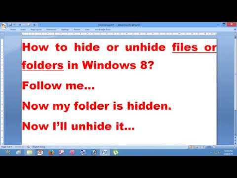 How To Hide Or Unhide Files Or Folders In Windows 8