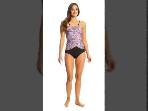 Jantzen Vibrant Paisley Drape High Neck One Piece Swimsuit | SwimOutlet.com