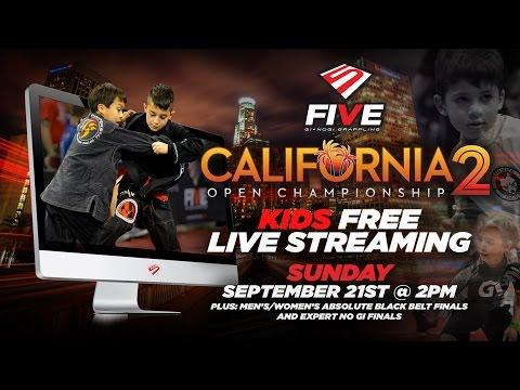 FIVE Grappling California 2 Kids FREE LIVE Stream + Absolute Black Belt / Expert NoGi Finals