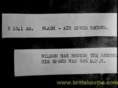 Pathe news Herne Bay. Air speed record. Meteor.