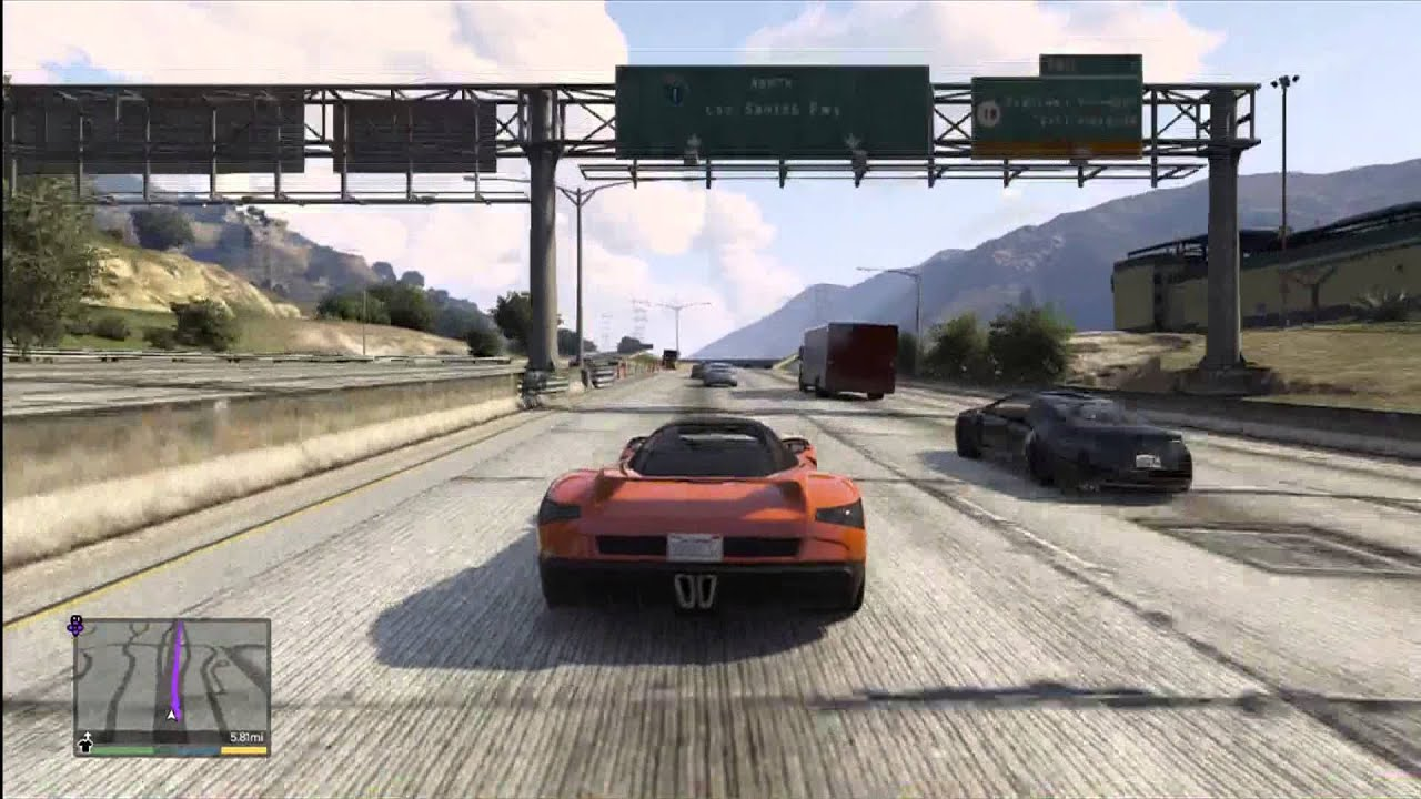 GTA DRIVING ACROSS THE MAP CROSS COUNTRY FERRARI F GROTTI - Video of car driving across us map