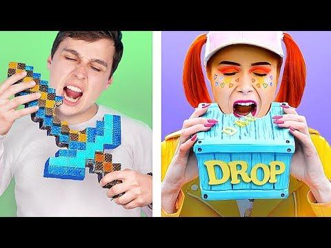 10 DIY Minecraft Süßigkeiten vs Fortnite Süßigkeiten! Challenge!