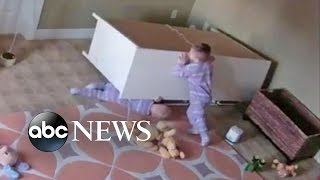 Boy Rescues Twin Brother From Fallen Dresser