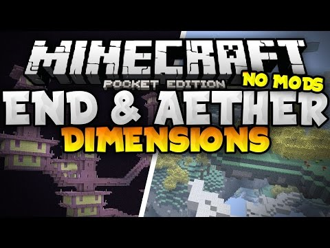 THE END And AETHER DIMENSION MAPS In MCPE!!! - NO MODS! - Minecraft PE (Pocket Edition)