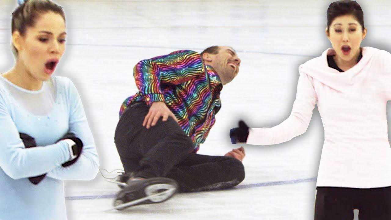 Обични луѓе пробуваат да повторат движења од уметничко лизгање со олимпијката Кристи