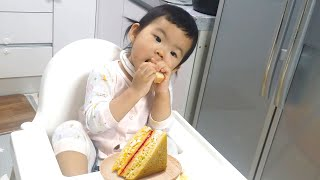 CUTE BABY EATING SANDWICH 아기 먹…