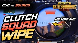 CLUTCH SQUAD WIPE W/ NO HEALTH! Duo vs. Squads with THATGUY - PUBG Mobile