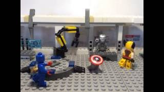 Ironman, Captain America and Wolverine fighting scene