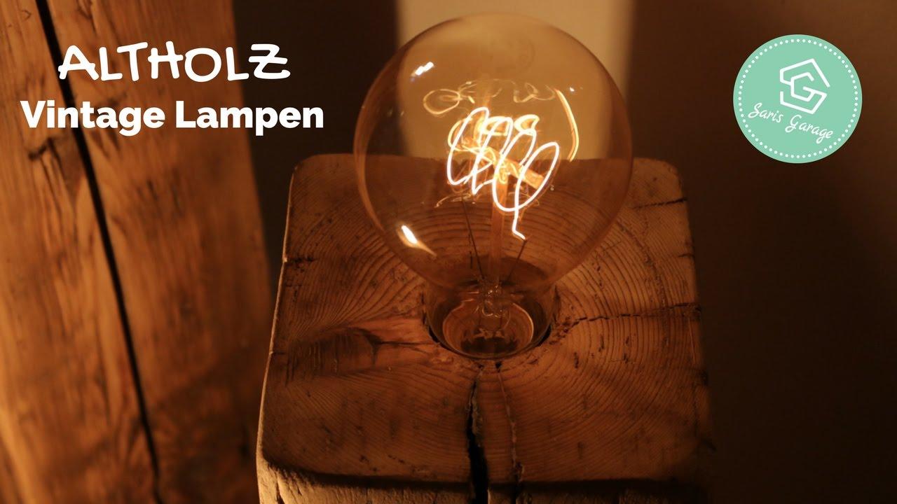 Vintage Lampen Aus Holzbalken