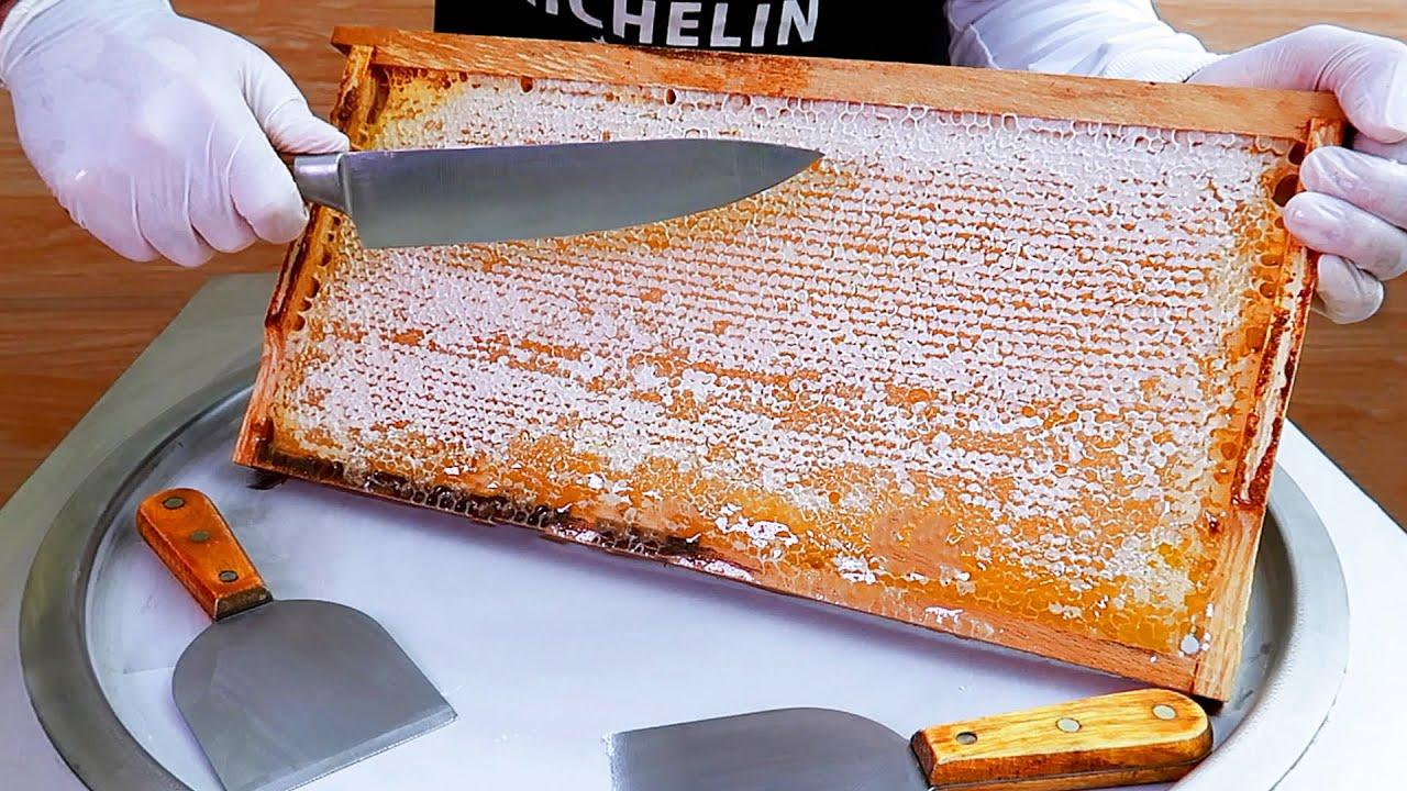Honeycomb ice cream rolls street food - ايسكريم رول على الصاج العسل
