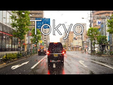 Япония. По Токио на авто под звук дождя | Japan. Car Tokyo Drive Rain Sound | Relax  ASMR АСМР