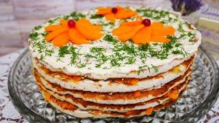 Закусочный торт из куриного филе ОТЛИЧНАЯ ЗАКУСКА Куриный торт рецепт Закуска на праздничный стол