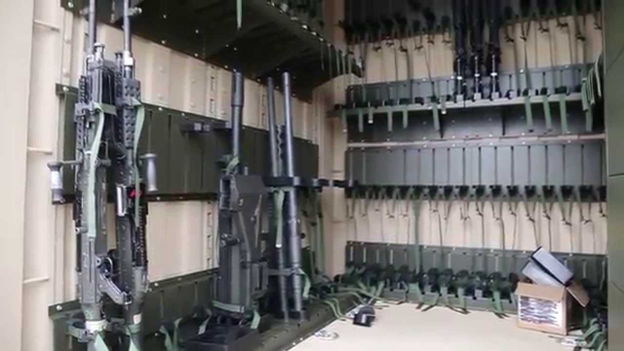 Military Shipping Container Weapons Storage System from Spacesaver