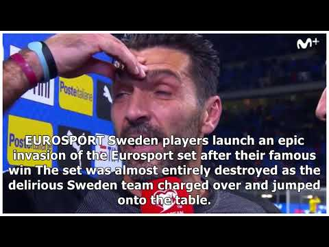 Sweden players destroy tv set during pitch invasion after epic italy world cup win
