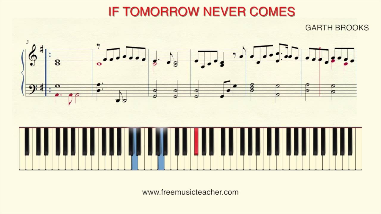 How To Play Piano If Tomorrow Never Comes By Garth Brooks Youtube