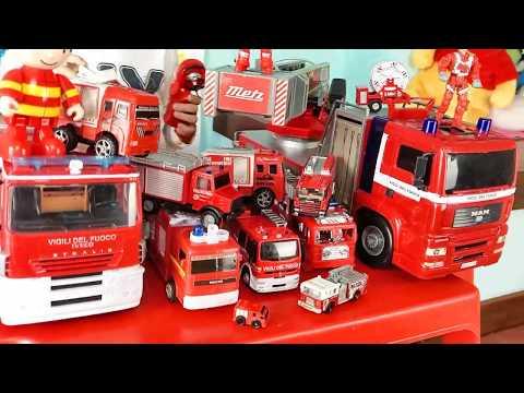 La collezione di camion 🚒dei pompieri  vigili del fuoco 🚨 Fire trucks toys collection in action 🚒