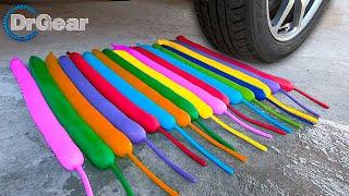 Long Balloons vs Car - EXPERIMENT. Crushing Crunchy & Soft Things by Car!