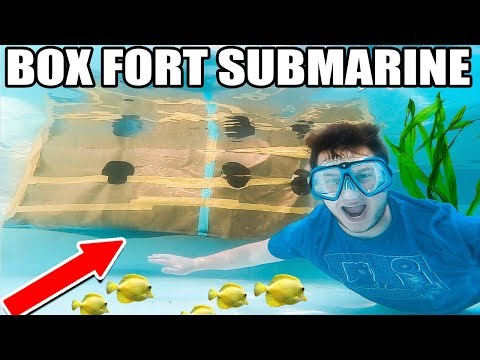 WE MADE A BOX FORT SUBMARINE USING FLEX TAPE!