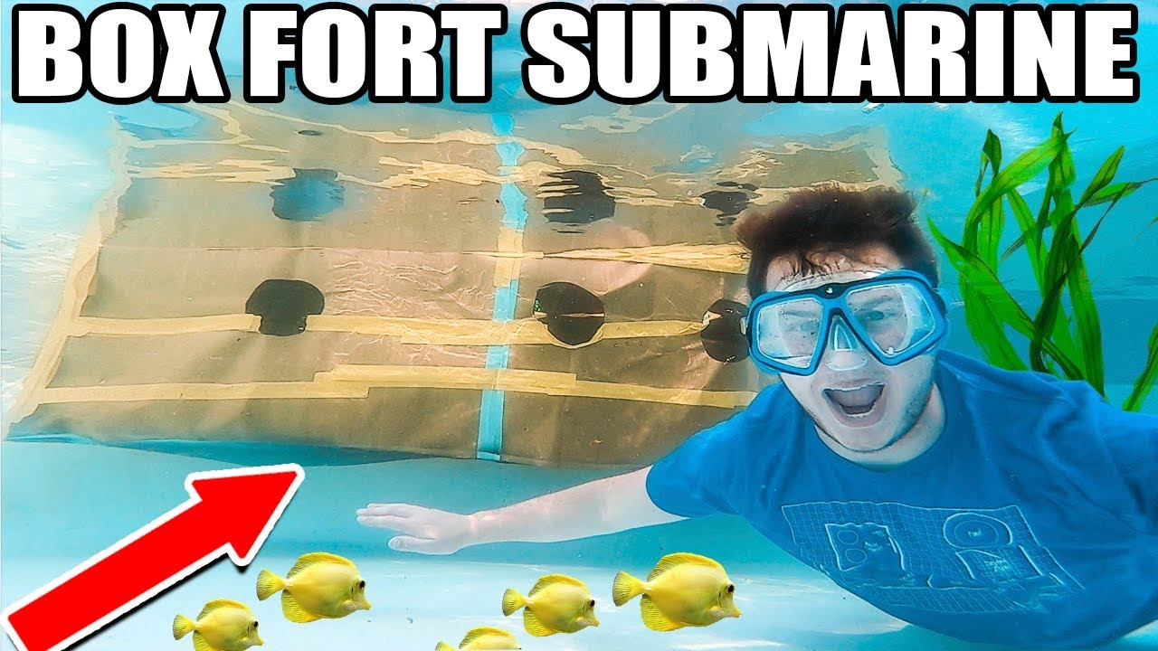 We Made A Box Fort Submarine Using Flex Tape Youtube