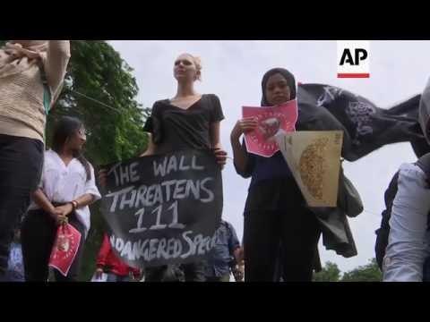 Small anti-Trump demo at US Embassy in Jakarta