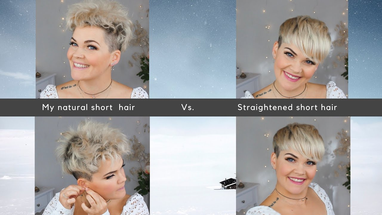 How I straighten and style my pixie cut  before and after