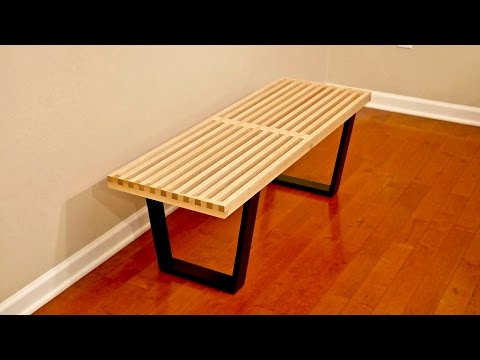 DIY Mid-Century Modern Slatted Bench – Woodworking