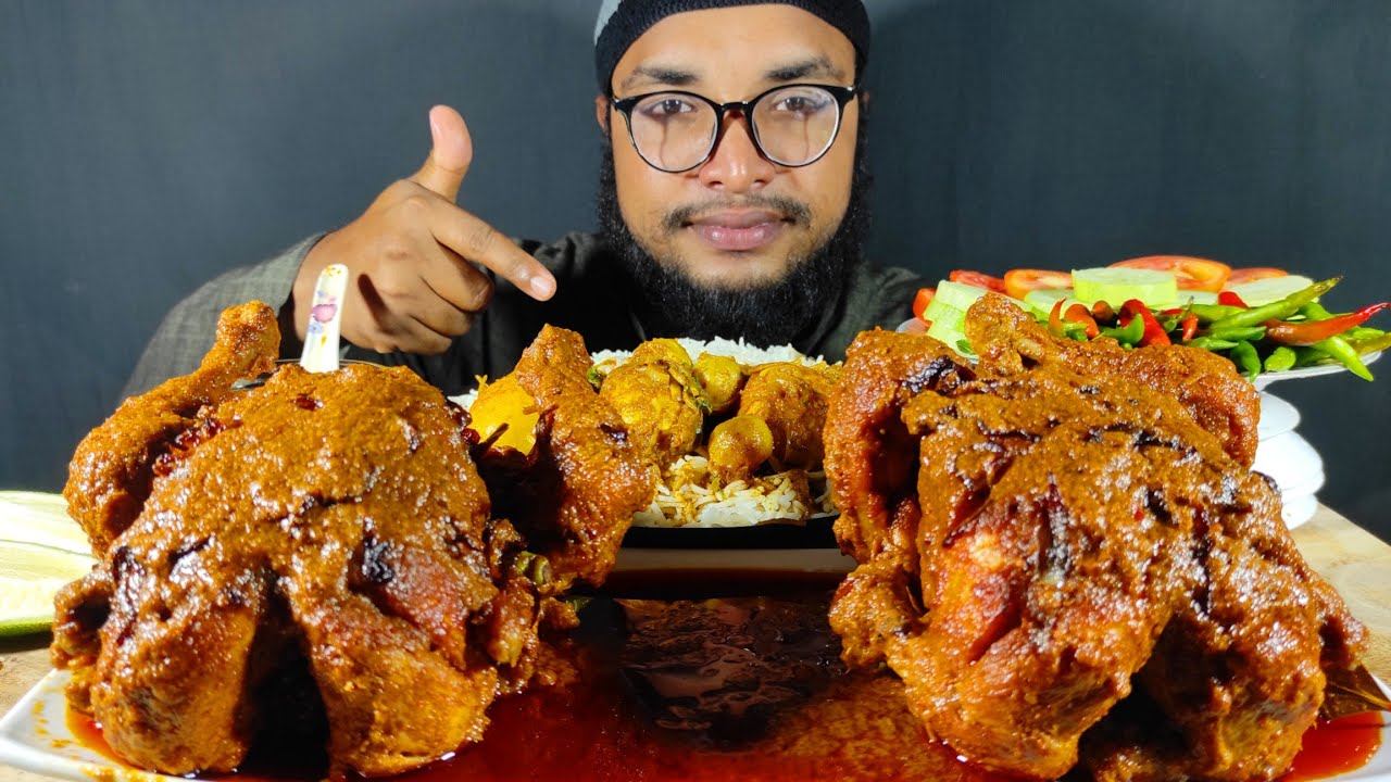 4 KG WHOLE CHICKEN CURRY, EGG MASALA WITH JERA RICE, WHOLE CHICKEN CURRY EATING, FOOD EATING VIDEOS