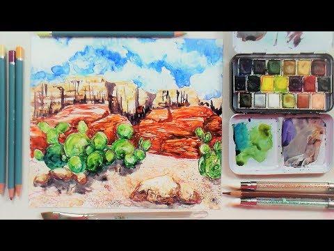 live!-watercolor-on-yupo-//-southwest-landscape-12:30pm-et-2/9/18