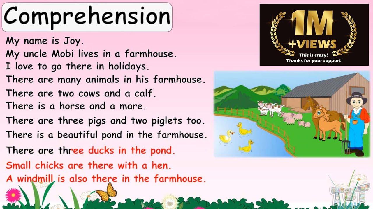hight resolution of Comprehension   English   Grade-1